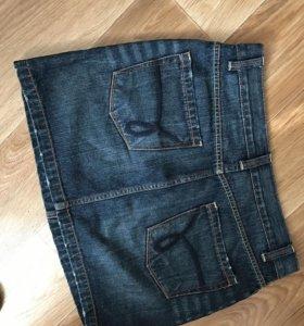 Джинсовая короткая юбка и топ
