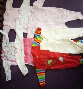 Одежда для малышки 0-3 месяцев пакетом