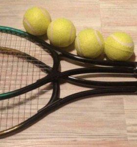 Ракетки для тенниса с 2 мячами и сумкой