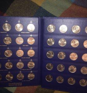 Коллекция памятных монет квотеров США..