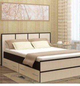 Кровать Сакура 1,6 с ящиками и матрасом.