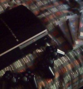 Sony PS3 fat 120gb + 3 геймпада и 6 игр