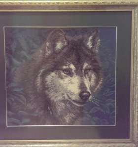 """Картина вышитая крестиком """"Волк"""""""