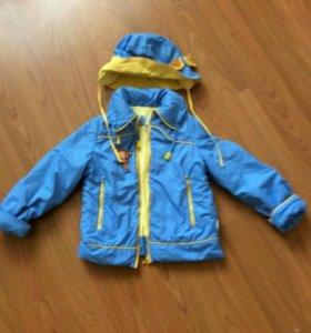 Голубая курточка с шляпкой на осень на 116 рост