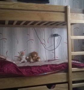 Кровать 2-х ярусная из массива дуба