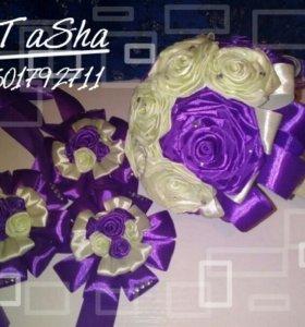 Букет невесты и браслеты для подружек невесты