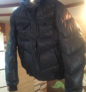 Новый Пуховик натуральная кожа серый.Зимняя куртка