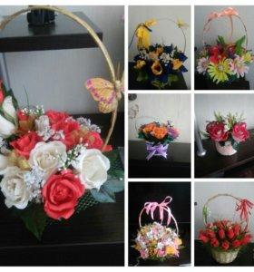Шикарные букетики с конфеткой в каждом цветке