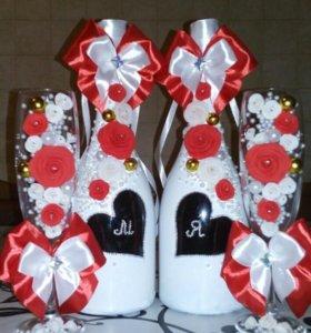 Оформление свадебных наборов и подарочных бутылок