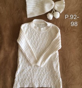 Платье и шапочка, р. 92-98