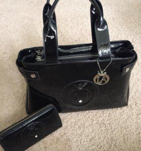 Мужская сумка Giorgio Armani цвет черный, эко-кожа