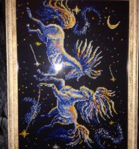 """Вышивка крестом """"Небесные кони"""""""