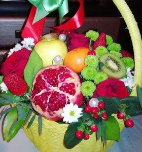 Букеты Цветы и фрукты