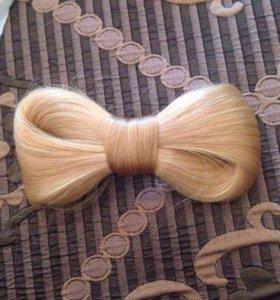 Бант заколка из натуральных волос