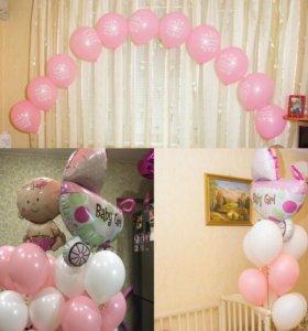 Украшение шарами, оформление праздника