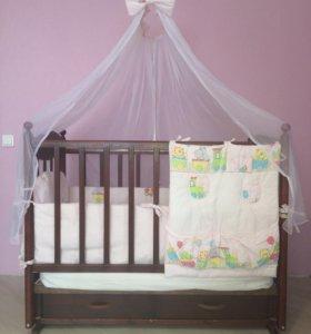 Бортики в кроватку с одеялом,подушкой и балдахином