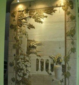Обьемная лепка стен с росписью.