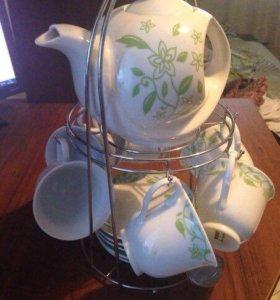 Чайный сервиз набор посуда чашки блюдца чайник