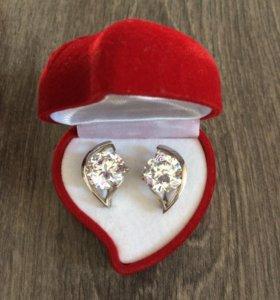 Серьги кольцо подвеска серебро