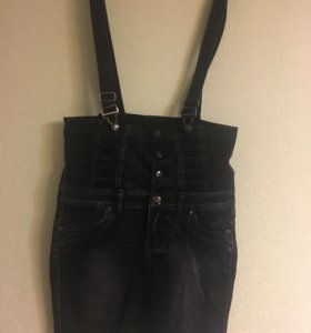 Юбка джинсовая на подтяжках