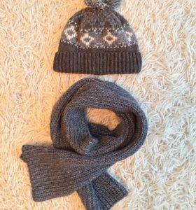 Тёплая шапка с шарфом (комплект)