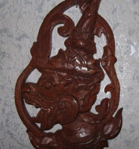 Панно Дракон Резьба Красное Дерево Лаос