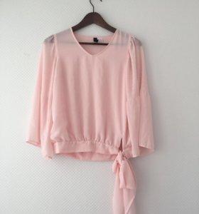 Шифоновая блузка блуза кофта розовая