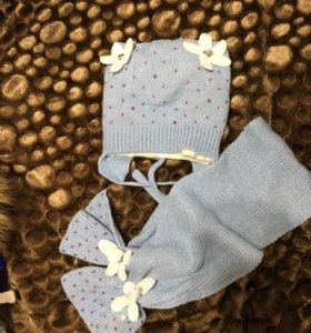 Шапка + шарф тёплая на флисе 48-52