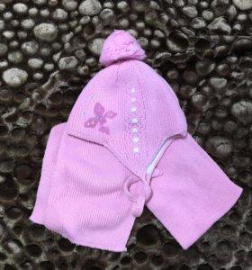 Комплектна шапка и шарф малышку 1-2,5 г.