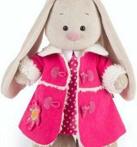 25 см, Зайка Ми в розовой дубленке и платье,малая