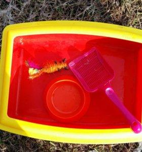 Кошачий туалет миска и лопатка с мышкой