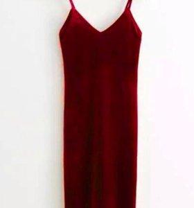 Новое бархатное платье xs