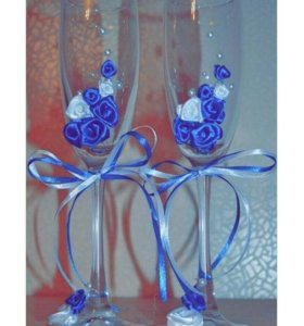 Готовые свадебные бокалы в синем цвете