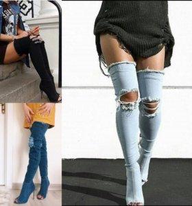 Ботфорты Balmain джинсовые