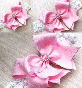 Букеты свадебные, повязки для девочек из лент