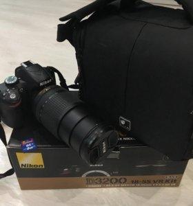 Фотоаппарат Nikon3200+объектив+сумка+карта памяти