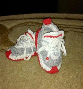 Кожанные ботинки+на кожаной подошве вязанные