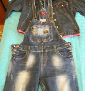 Комбез джинсовый+куртка