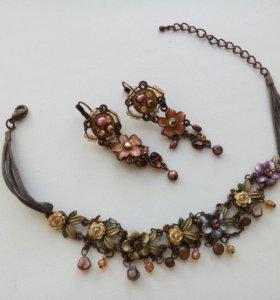 Оригинальное колье/браслет с серьгами