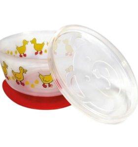 Детская тарелка на присоске с крышкой