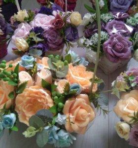 Цветочные композиции из мыла