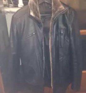 Куртка кожаная с мехом тёплая