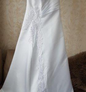Свадебное платье, митенки, сумочка