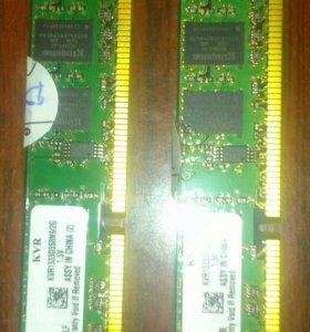 Kingston DDR3 2gb 2 штуки по1333 MHz