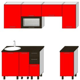 Кухонный гарнитур 1.5 м с выкатным столом