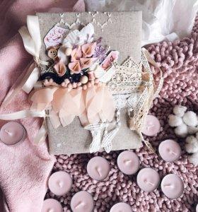 Альбом ручной работы для новорождённой девочки