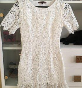 Белое платье из кружева 36
