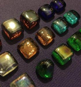 Камушки стеклянные декор квадрат