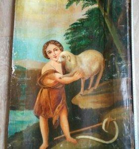 Икона Холст Юнный Иоанн Креститель 18 век