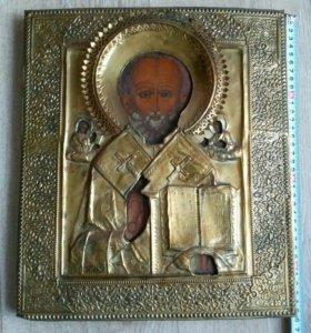 Икона 19 век Николай Чудотворец .